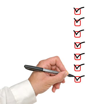 Customer Communication Checklist | Hand with pen and check boxes